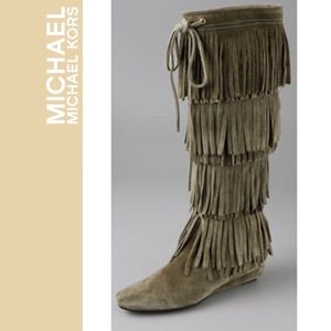 "Michael Kors ""Montreal"" fringe boots in olive"